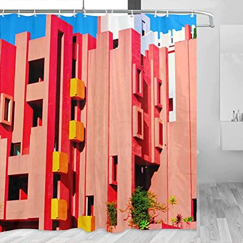 España Red House Calpe Cortina de Ducha Viaje Decoración de Baño Set Con Ganchos Poliéster 72x72inch (YL-05409)
