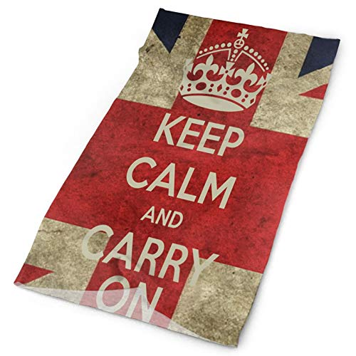 Keep Calm and Carry On with UK Flag Neck Gaiter Anti UV Face Covering Sweat Wicking Headbands