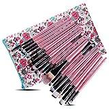 Aland 20Pcs/Set Powder Foundation Blush Eyeshadow Eyebrow Eyeliner Makeup Brushes Pink Handle Black Tube