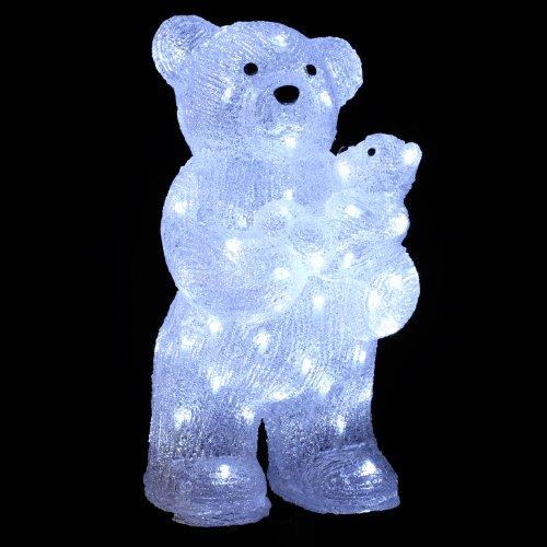 DECORAZIONI NATALIZIE: ORSO e ORSACCHIOTTO luminosi - Effetto brina - 56 lucine LED bianche