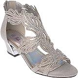 lime03 Womens Evening Sandal Rhinestone Silver Dress-Shoes Size 7.5