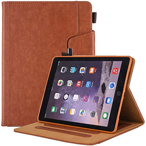 Ipad Air 10.5 3Rd Generation Case/Ipad Pro 10.5 Tablet Leather Case, Multi-Angle Viewing Folio Stand Cases with Pencil Holder, Document Pocket,Brown