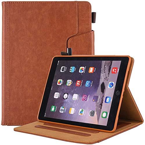 Tercera Generación/Funda De Cuero para Tableta iPad Pro 10.5, Estuches con Soporte Tipo Folio De Visualización En Múltiples Ángulos con Portalápices, Bolsillo para Documentos,Brown