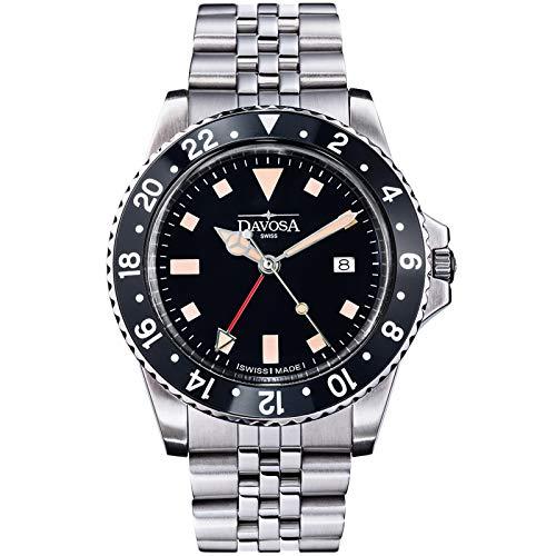Davosa - Reloj de pulsera profesional para hombre, cuarzo suizo, dial analógico GMT de doble hora, reloj de pulsera de lujo vintage