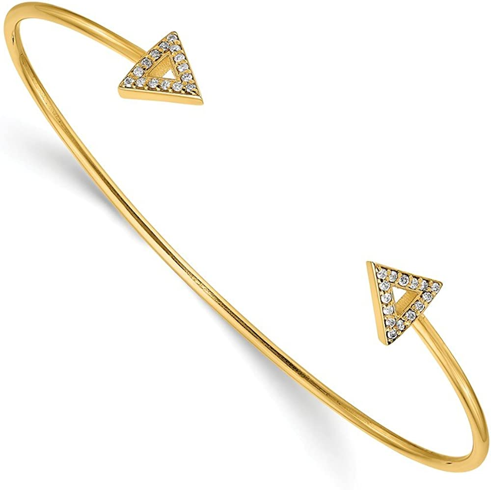 Solid 14k Yellow Gold 7in Diamond Triangle Bangle Cuff Bracelet 5/16 - with Secure Lobster Lock Clasp 7