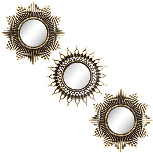 Espejos dorados cepillados para decoración de pared, juego de 3 espejos redondos para decoración del hogar y de la habitación,...