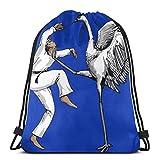 XCNGG Borsa da Palestra Borsa con Coulisse Borsa da Viaggio Borsa Sportiva Borsa da Scuola Zaino Funny Karate Crane Bird Unisex Drawstring Backpack Bag, Polyester Cinch Sack, Waterproof Sport Gym Bag