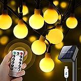 Guirnaldas Luces Exterior Solar, 60 LED 10M Luces Solares Led Exterior Jardin con USB Recargable, 8 Modos & Impermeable Cadena de Luces Solares Decoración para Terraza Patio Balcones Fiesta Boda
