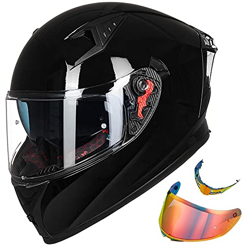 ILM Motorcycle Helmet Full Face with Pinlock Compatible Clear&Tinted Visors and Fins Street Bike Motocross Casco DOT(Gloss Black, Medium)