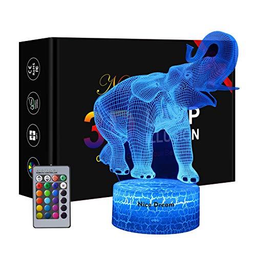 Elefant Nachtlicht für Kinder, 3D Illusions Lampe 16 Farben Ändern mit Fernbedienung, Geburtstag Geschenk, Mädchen Geschenke 7 Jahre, Tochter Geschenk, 6 Jahre Jungen Geschenk, Besondere Geschenke