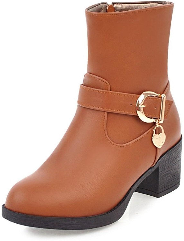 ZQ@QX Herbst und Winter runden Kopf dick mit der Schnalle mit der wilden Seite von Frau zipper kurze Stiefel weibliche Stiefel