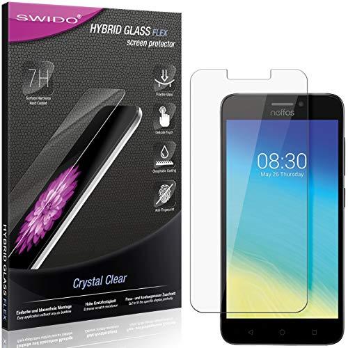 SWIDO Panzerglas Schutzfolie kompatibel mit TP-Link Neffos Y5s Bildschirmschutz-Folie & Glas = biegsames HYBRIDGLAS, splitterfrei, Anti-Fingerprint KLAR - HD-Clear