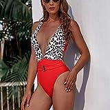 Miminuo Trajes De Baño Mujer,Bikini Sexy con Estampado de Leopardo 2020 Traje de baño de Vendaje V Profundo para Mujer Traje de baño Push up Body de Corte Alto Natación de una Pieza-si_S