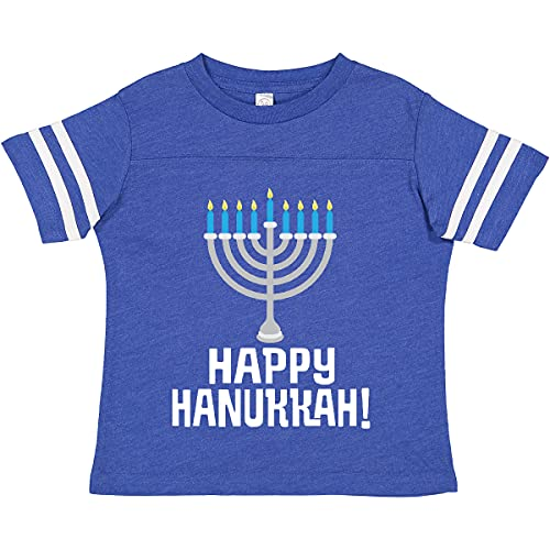 inktastic Happy Hanukkah Toddler T-Shirt 4T Football Blue and White 27a9e