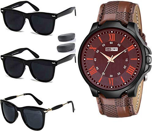 Sheomy New Arrival Special Collection of Festive Seasons Black Color Unisex UV Protected Avaitors, Aviators and s Sunglasses Combo Ideal for Boys, Girls, Men, Women Wayfairs (58-691F-ZTBC)