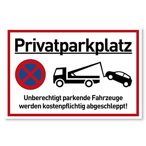 XXL Privatparkplatz Schild Parken Verboten (44x32 cm Groß Kunststoff) - Fahrzeuge Werden kostenpflichtig abgeschleppt - Klares Zeichen für Parkverbot - Parkplatz Schilder Privatgrundstück