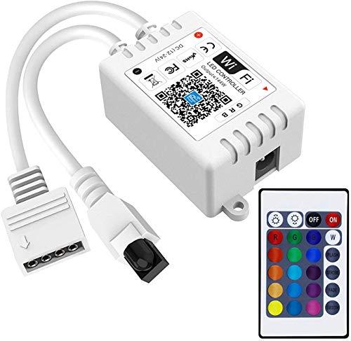 WiFi Smart 12-24V Controller für LED Streifen/Strip, 16 Mio Farben Kompatibel mit Alexa, Google Home und Siri, 20 Dynamische Modi, Wecker Musik & Mic Innenbeleuchtung(4 Pin)