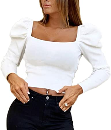 Mujer Otoño Camiseta - Sexy Slim Fit Blusa Cuello Cuadrado ...