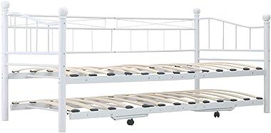 LEFTLY Canapé-lit pour salon d'invités en acier blanc 180 x 200/90 x 200 cm