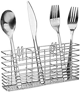 Slideep Cutlery Utensil Silverware Drying Rack, Flatware Storage Solution Basket with Hooks for Kitchen Dish Drainer Dish Drying Rack, RustProof 304 Stainless Steel