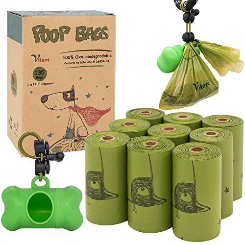 Vitervi Dog Poop BagsBiodegradable Poop Bags for Dogs LeakProof Pet Waste Bags Refill Rolls 9 Rolls / 135 Count with Dispenser and Leash Clip