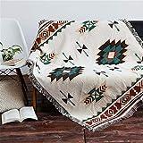 Eazyhurry Couvre-lit tissé 100% Pur Coton Style Ethnique avec Franges décoratives pour canapé ou canapé, 71'' X 102''/180cm X...
