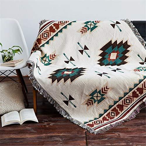 eazyhurry Manta tejida de algodón 100% puro, estilo étnico, con flecos decorativos, súper suave, decoración del hogar, para silla, cama, sofá