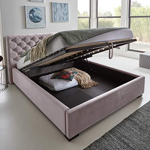 Designer Bett mit Bettkasten ELSA Samt-Stoff Polsterbett Lattenrost Doppelbett Stauraum Holzfuß schwarz (Rose, 160 x 200 cm)