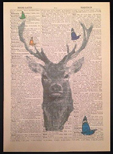 Parksmoonprints - Stampa da parete con dizionario di cervi e farfalle, motivo: farfalle colorate