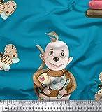 Soimoi Blau Baumwoll-Voile Stoff Monkey & Cupcakes Kinder