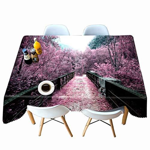 XXDD Mantel Impreso en 3D Rosa Flor de Cerezo patrón de jardín Mantel Rectangular Espesar Cubierta de Mesa Impermeable A11 135x160cm