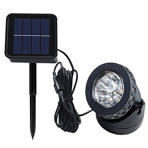 Solar Spotlight Licht,SUAVER Wasserdicht Strahler LED Außen Unterwasser Scheinwerfer Solar-Gartenleuchte Landschafts beleuchtung für Garten, Brunnen, Terrasse, Liegewiese (Typ 1-weiß)