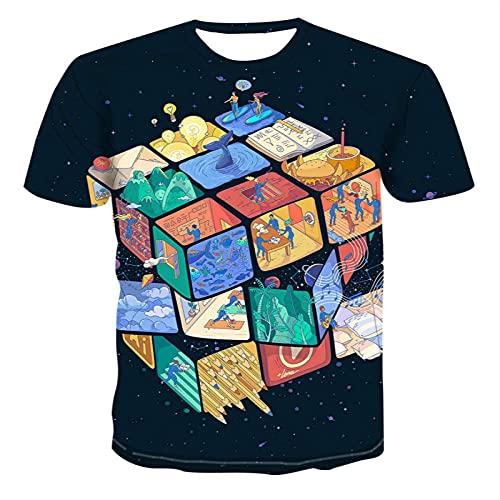 LiNjunFc T-Shirts pour Hommes T-Shirts Surdimensionnés pour L'Été Noir Vêtements À Manches Courtes Tops Rubik's Cube T-Shirt-03_XS Motif Avant = Motif Arrière