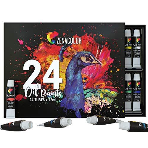 Zenacolor 24 Tuben Ölfarben Set 24 x 0,4 Oz (12ml) Ölfarben - Kunstzubehör in Profi Qualität für Erwachsene - 24 Einzigartige Farben, Perfekt für Leinwand und Wandbilder