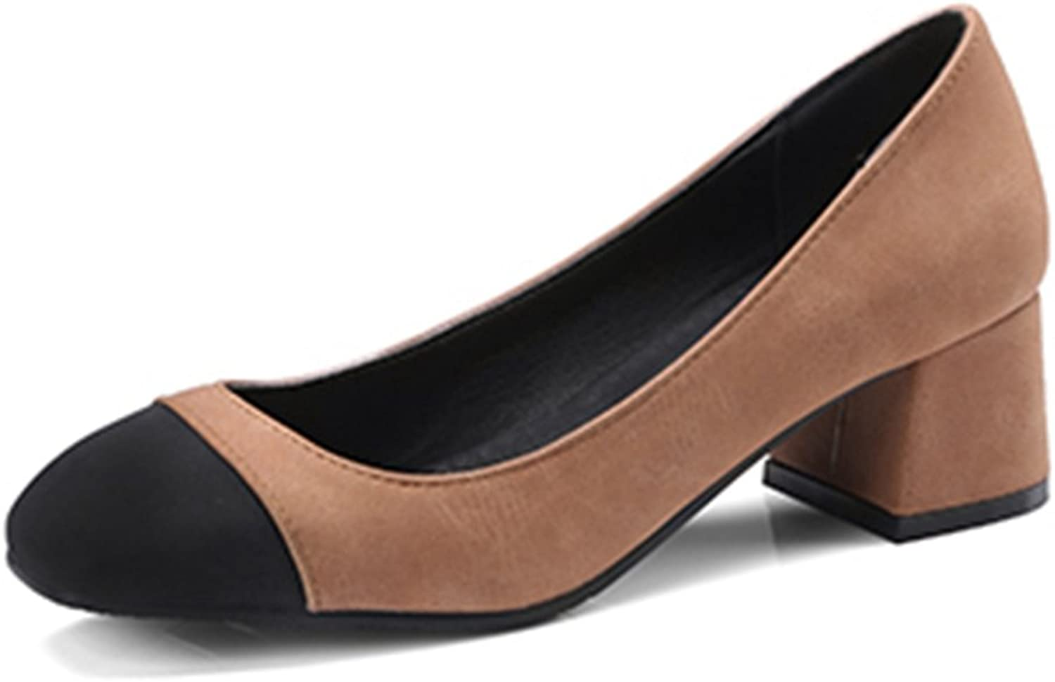 SaraIris Women's Chunky Mid Heel Mixed color shoes Office Daily Pumps