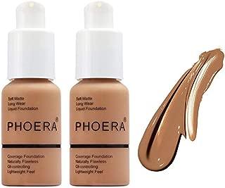 FREEORR 2pack Natural Moisturizing Matte Oil Control Concealer Foundation Cream,Long Lasting Waterproof Matte Liquid PhoeraFoundation,Facial Blemish Concealer,107 Honey-30ml