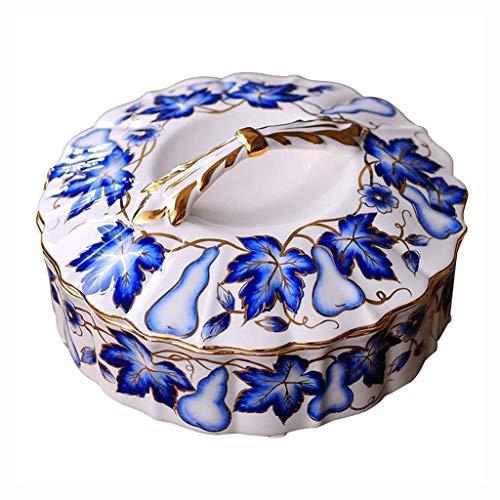 NJIUHB Bandeja de fruta, creativo pintado bandeja calabaza porcelana azul y blanca de la fruta, decoración casera con la tapa de Phnom Penh plato de cerámica de los frutos secos, Grande 11.8 * 5.9 pul