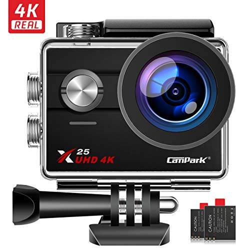 Campark Action Camera Native 4K Wifi Waterproof Underwater Camera 30M 16MP Photos 170° Wide Angle with GoPro Compatible Accessories