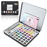 Honmax 48 Wasserfarben Set - Aquarellfarben mit Wassertankpinsel, Pinsel, Zeichenstift, Bleistiftspitzer, Aquarellpapier, Wasser absorbierender Schwamm, Weiße Aquarellfarbe, Malkasten