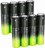 8 Pcs Pilas 18650 Pilas Recargables 3,7 V 5800 Mah de Iones de Litio de Alta Capacidad Baterías, 1200 Ciclos de Larga Duración con Botón Superior Pilas para Linterna