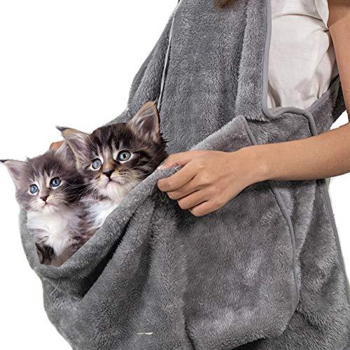 GTTBS Chat Sac De Couchage Tenant Tablier Pet Carrier Kangourou Sac pour Kitty Doux Polaire Corail Chiots Petits Animaux Titulaire Poche,Gray,29.9\