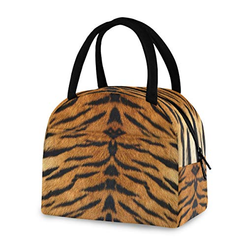 ZZKKO Animal Tiger Print Lunch Bag Box Tote Organizer Lunch Container Insulated Zipper Meal Prep Cooler Handbag For Women Men Home School Office Outdoor Use
