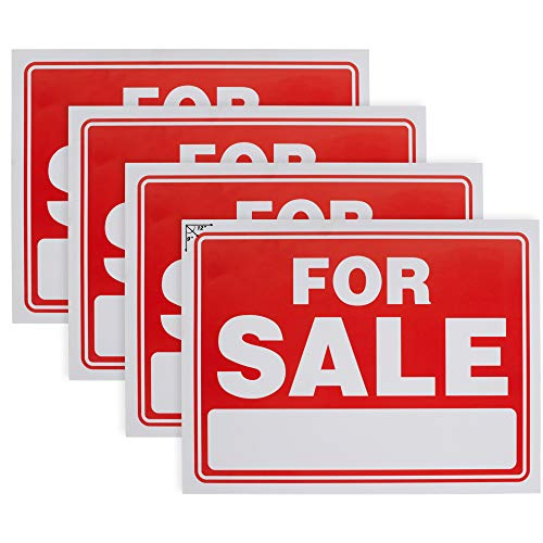 Ram-Pro 9' X 12' Sale Sign for Car and Auto Sales - Rust Free Clear and Visible Text Long Lasting with A Space to Hand Write, (4 Pack)