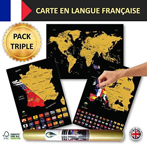 Wereldkaarten met A3-landkaarten en Europese kaarten Zwart