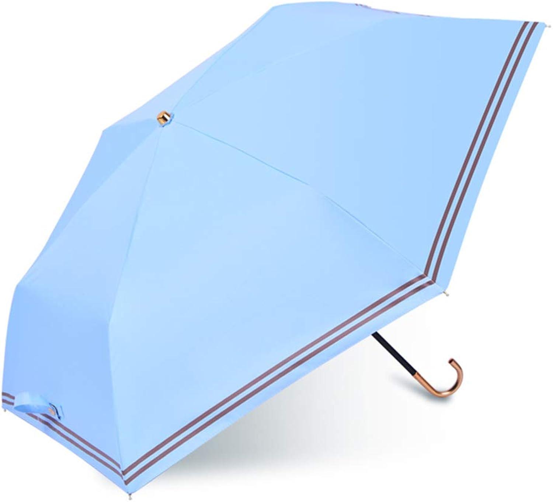 Travel Umbrella, Windproof AntiUV Folding Sun Umbrellas Compact Portable Lightweight Rain Umbrella Women Manual Sunscreen Stick Umbrellas,lightblueee