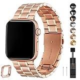HEKAI Armband Kompatibel mit Apple Watch Armband 42mm 38mm 40mm 44mm Metall, Verstellbare Edelstahl...