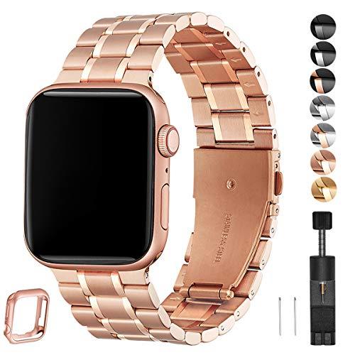 HEKAI Armband Kompatibel mit Apple Watch Armband 42mm 38mm 40mm 44mm Metall, Verstellbare Edelstahl Ersatzbänder für die iWatch Serie 6&5/4/3/2/1,SE(38mm 40mm, Roségold)