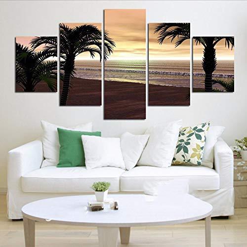 Cczxfcc, canvas met HD-druk en decoratief schilderij, 5 stuks, voor de vloer van het bed of het bed 30x40/60/80cm-nessuna Cornice