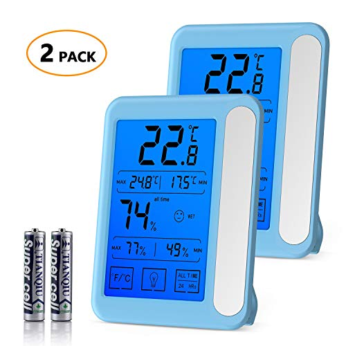2 Pack Senbowe Digital Hygrometer Indoor Room Thermometer Humidity Gauge with Jumbo Touchscreen, Backlight,MIN/MAX Records,Temperature Humidity Monitor Fahrenheit Or Celsius (White + Blue)
