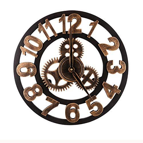 Mengshen Reloj De Pared Decorativo Retro De Gran Tamaño - De Madera Y Silencioso (Dorado, 15.7...